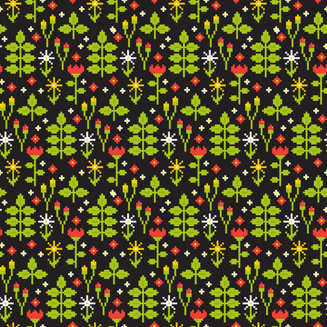 Pixel art flowers fabric by mzwonko on Spoonflower - custom fabric