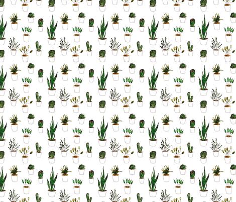 Green plants in white pots fabric by katerinaizotova on Spoonflower - custom fabric