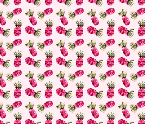 Pink pineapples, Watercolor fabric by katerinaizotova on Spoonflower - custom fabric