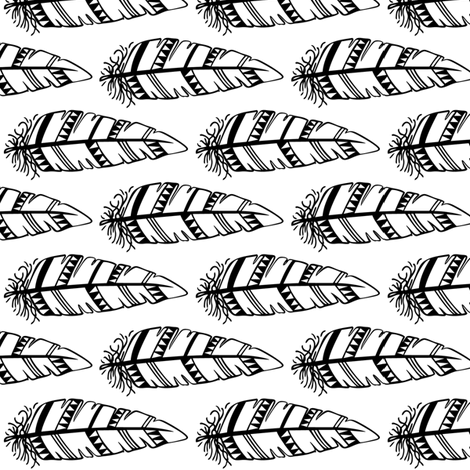 Feathers bold  // Black outlines fabric by howjoyful on Spoonflower - custom fabric