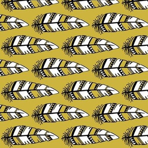 Feathers bold  // Mustard background