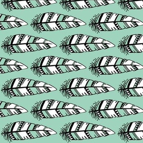 Feathers bold  // Mint background