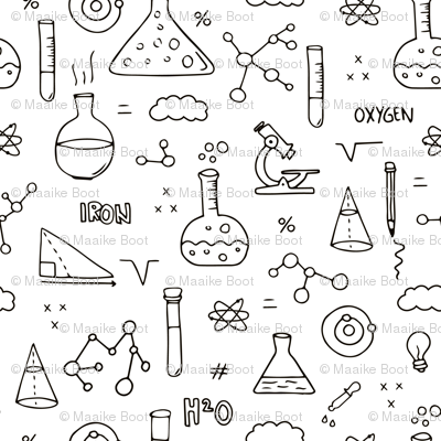 Cool back to school science physics and math class student illustration black and white