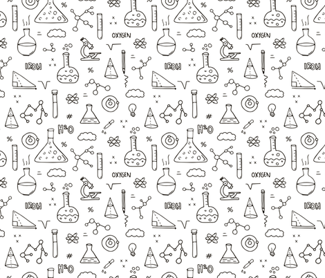 Cool back to school science physics and math class student illustration black and white fabric by littlesmilemakers on Spoonflower - custom fabric