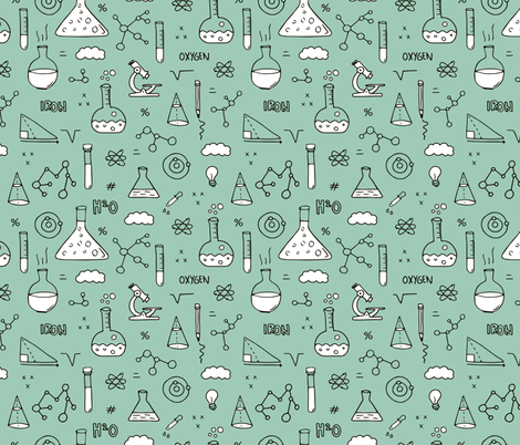 Cool back to school science physics and math class student illustration laboratorium black and white mint fabric by littlesmilemakers on Spoonflower - custom fabric