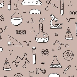 Cool back to school science physics and math class student illustration laboratorium black and white beige