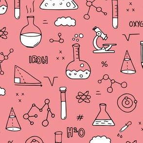 Cool back to school science physics and math class student illustration laboratorium black and white pink