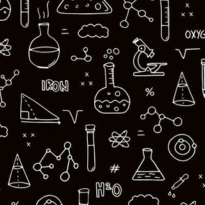 Cool back to school science physics and math class student illustration laboratorium black and white