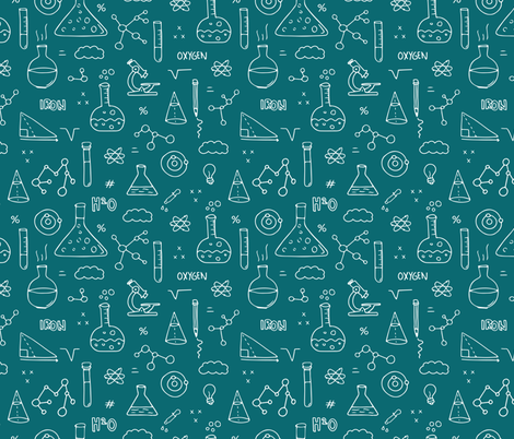 Cool back to school science physics and math class student illustration laboratorium black and white  fabric by littlesmilemakers on Spoonflower - custom fabric