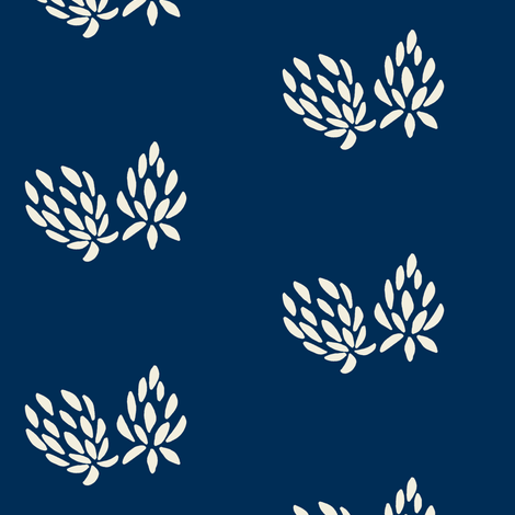 clover flower cream/navy fabric by ali*b on Spoonflower - custom fabric