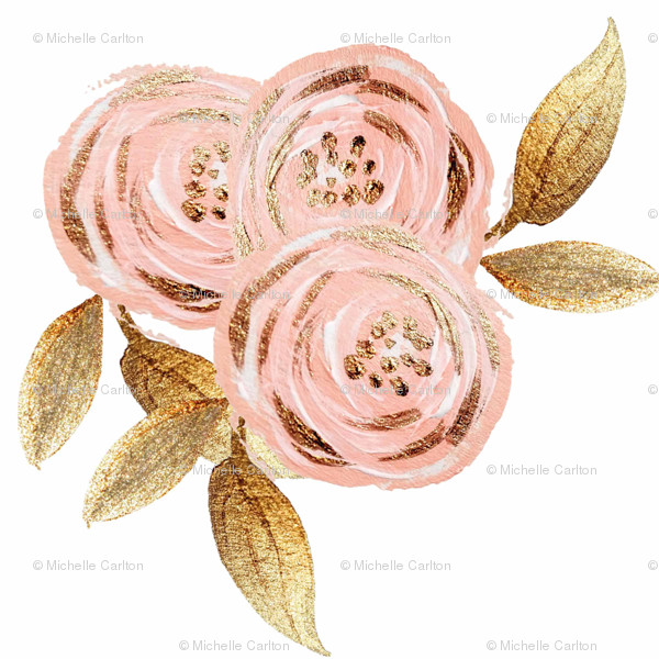 Glitz gold blush flower gold foiled floral pink fabric glitz gold blush flower gold foiled floral pink fabric orangeblossom805 spoonflower mightylinksfo