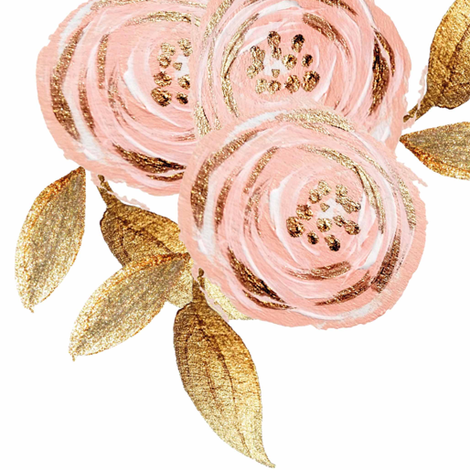 Glitz Gold & Blush Flower - - Gold Foiled - - Floral - - Pink fabric by orangeblossom805 on Spoonflower - custom fabric