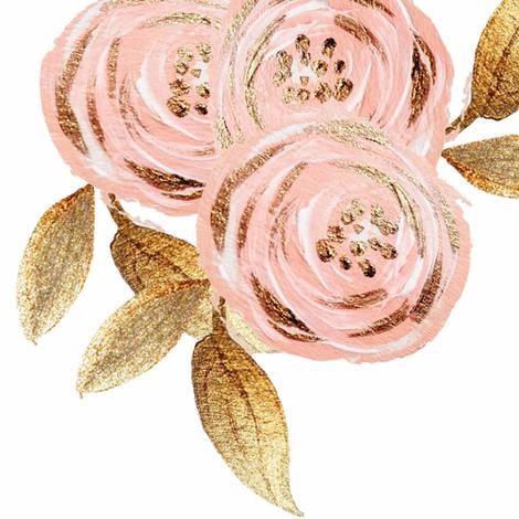 Glitz Gold & Blush Flower - - Gold Foiled - - Floral - - Pink fabric by orangeblossom805 on Spoonflower - custom fabric