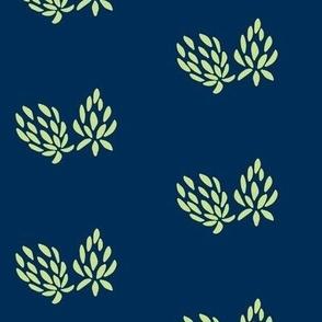 clover flower lime/navy