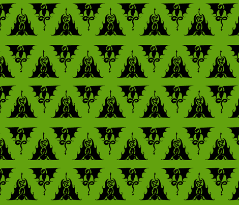 Dragon triangles black on green fabric by ingridthecrafty on Spoonflower - custom fabric