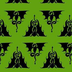 Dragon triangles black on green