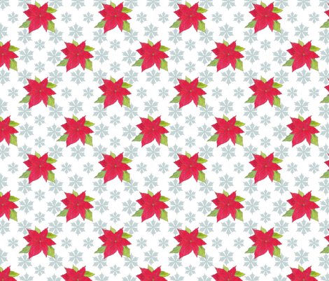 poinsettias and snowflakes fabric by anne_renata on Spoonflower - custom fabric
