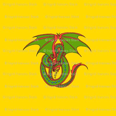 Dragon Celtic Loop green on gold