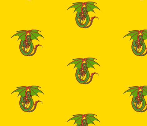 Dragon Celtic Loop green on gold fabric by ingridthecrafty on Spoonflower - custom fabric