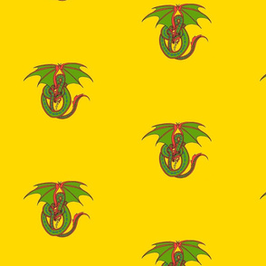 Dragon Celtic Loop green on gold