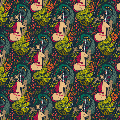 The Mermaid and the Unicorn - Mamara-small scale fabric by ceciliamok on Spoonflower - custom fabric
