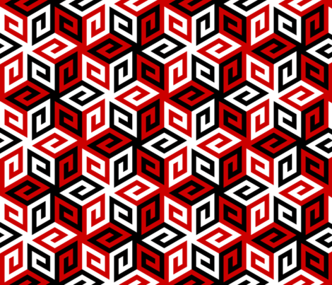 05631084 : greek cube : in the red or in the black fabric by sef on Spoonflower - custom fabric