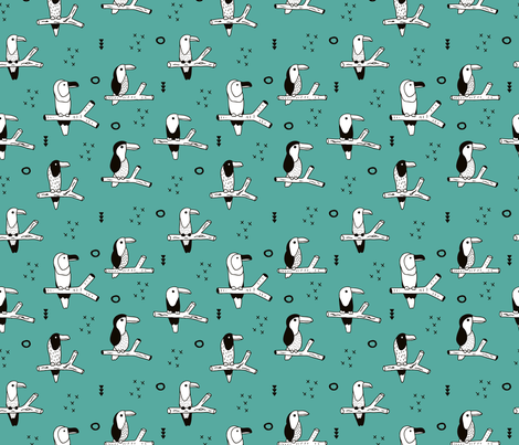 Pura vida tropical birds collection toucan kingfisher and hummingbirds jungle animals fall teal fabric by littlesmilemakers on Spoonflower - custom fabric