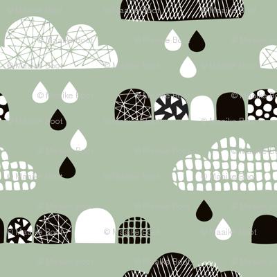 Soft fall clouds  and rain drops sky scandinavian geometric texture design green