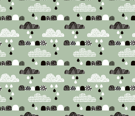 Soft fall clouds  and rain drops sky scandinavian geometric texture design green fabric by littlesmilemakers on Spoonflower - custom fabric