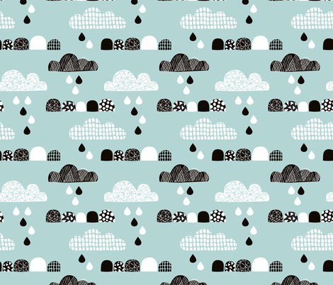 Soft fall clouds  and rain drops sky scandinavian geometric texture design winter blue fabric by littlesmilemakers on Spoonflower - custom fabric