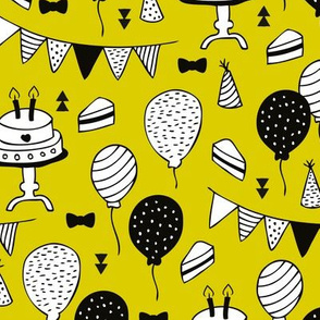 Colorful gender neutral birthday celebration party cake balloons and garland design yellow