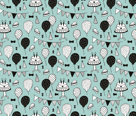 Colorful gender neutral birthday celebration party cake balloons and garland design mint fabric by littlesmilemakers on Spoonflower - custom fabric