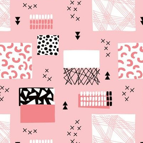 geometric inky texture abstract cubes and lines scandinavian style design sweet pink
