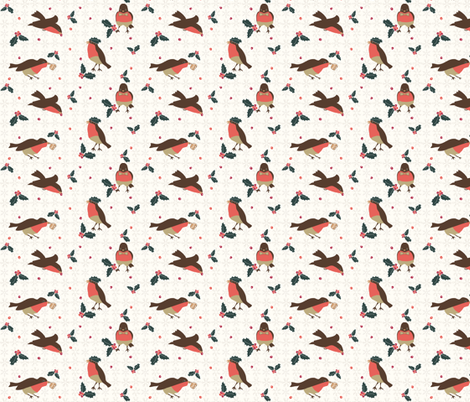Vintage Christmas Birds and Berries fabric by colour_angel_by_kv on Spoonflower - custom fabric