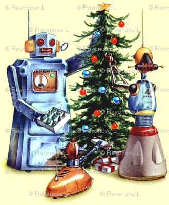 robots pop art science fiction sci fi futuristic pets dogs presents gifts trees baubles ornaments stars vintage retro kitsch merry christmas androids