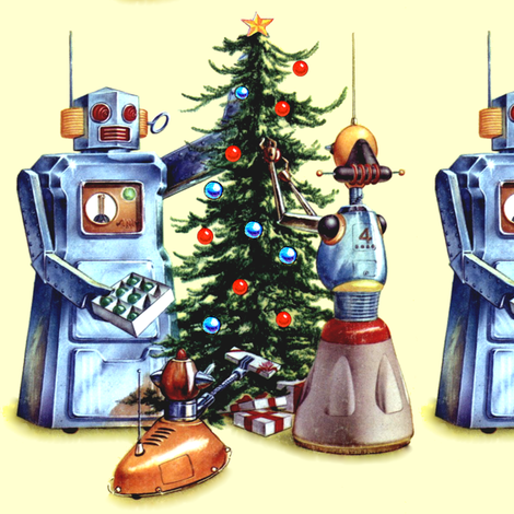 robots pop art science fiction sci fi futuristic pets dogs presents gifts trees baubles ornaments stars vintage retro kitsch merry christmas androids fabric by raveneve on Spoonflower - custom fabric