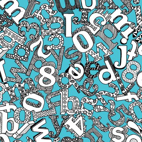 Alphabet Soup (sea) fabric by seesawboomerang on Spoonflower - custom fabric