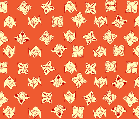 cootie catchers in orange and yellow fabric by eleventy-five on Spoonflower - custom fabric