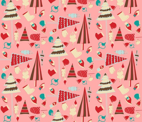 Vintage Christmas Pink fabric by bruxamagica on Spoonflower - custom fabric