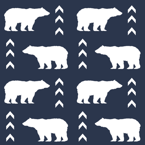 bear boy navy blue kids baby boy nursery, chevron, nursery, woodland, forest, grey navy mint nursery for boys outdoors camping kids bears fabric by charlottewinter on Spoonflower - custom fabric