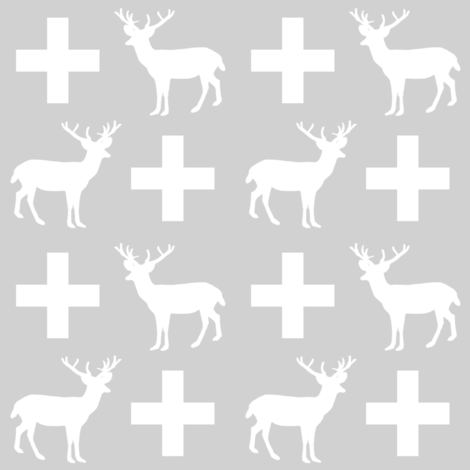 deer forest silhouette deer fawn kids grey simple nursery baby boy fabric for boys nursery outdoors camping hunting doe buck kids design for boys plus sign swiss cross plus kids grey simple scandi fabric by charlottewinter on Spoonflower - custom fabric