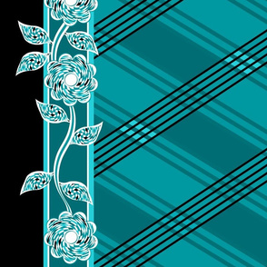 Flowers_Checkered_BW_Lines2_teal