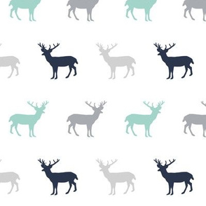 deer forest silhouette deer fawn kids grey simple nursery baby boy fabric for boys nursery outdoors camping hunting doe buck kids design for boys, mint navy blue and grey deer