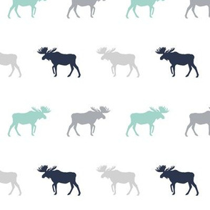 moose simple silhouette moose lodge kids nursery grey navy blue and mint baby boy nursery fabric for kids room modern trendy kids decor