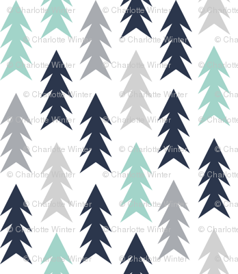 trees woodland forest triangles kids nursery baby boy grey mint navy blue simple boys design for kids nursery baby boy outdoors camping forest