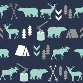 woodland boys design mint grey navy blue bear moose forest arrow kids nursery baby print