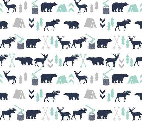 Woodland Boys Design Mint Grey Navy Blue Bear Moose Forest Arrow Kids Nursery Baby Print Fabric