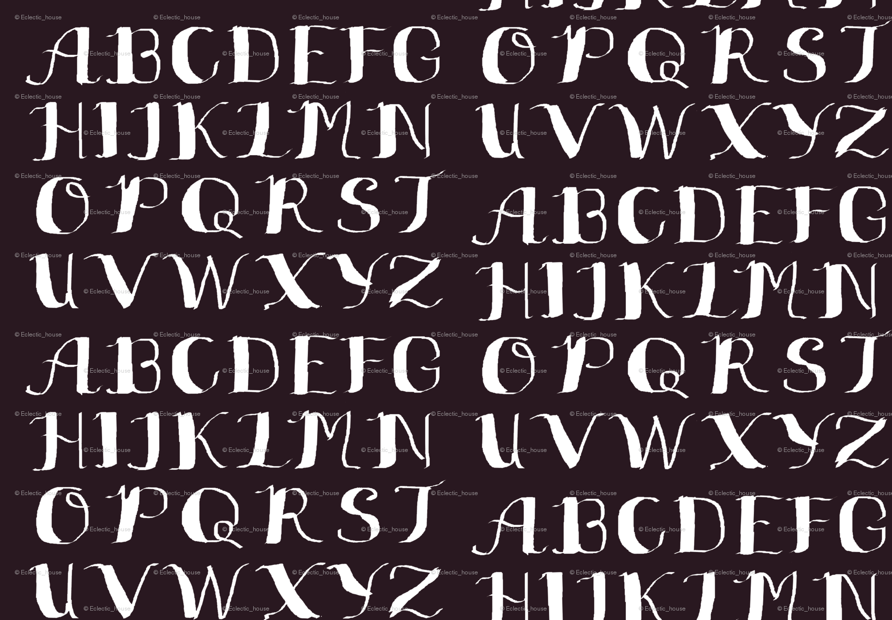 Black and white calligraphy alphabet fabric eclectic house