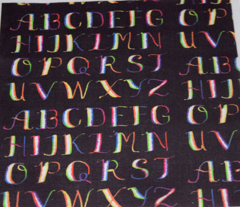 Rainbow Calligraphy Alphabet on Dark