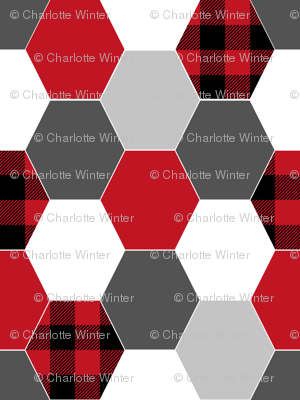 hexagon cheater quilt buffalo plaid black and red grey charcoal kids nursery baby crib sheet